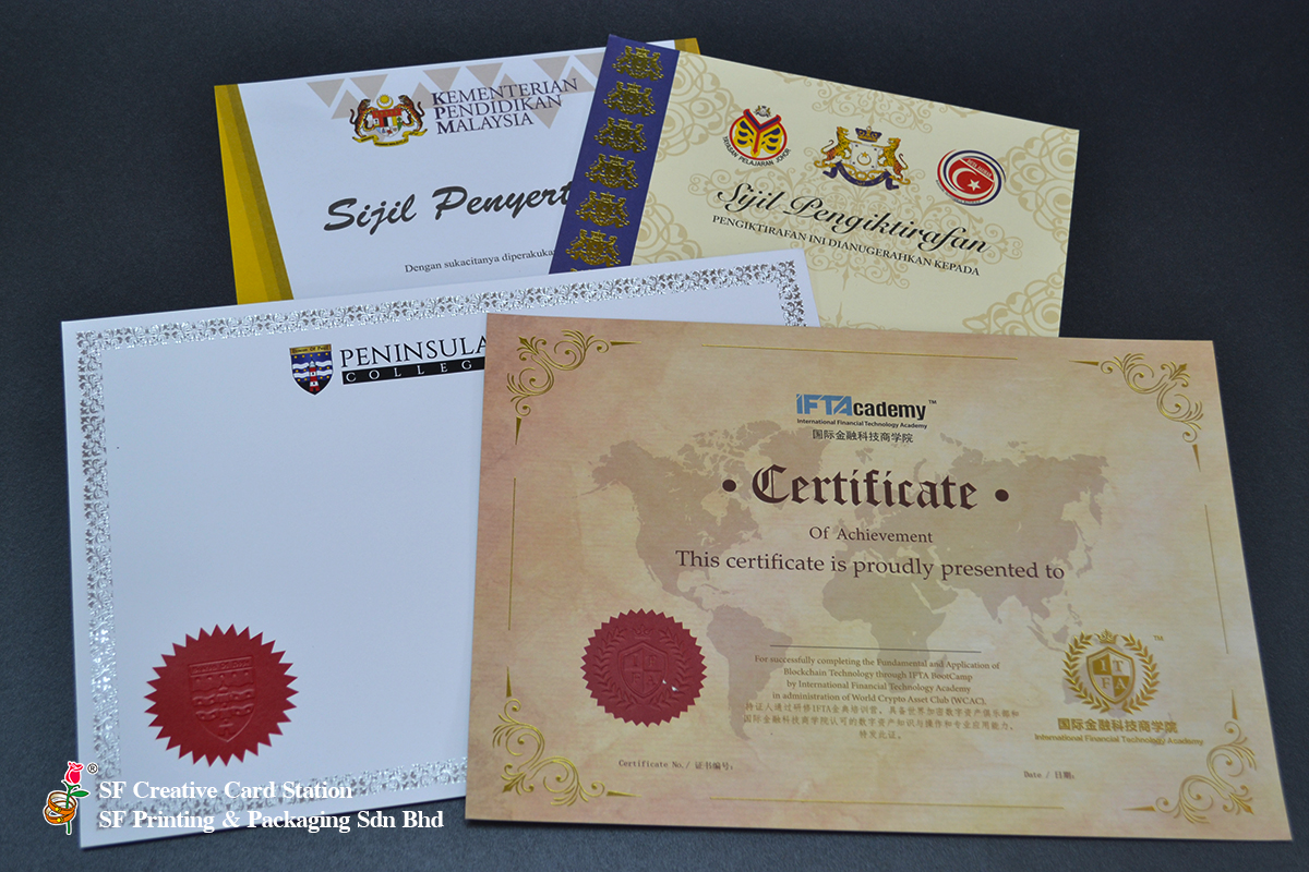 CUSTOM MADE CERTIFICATE PRINTING